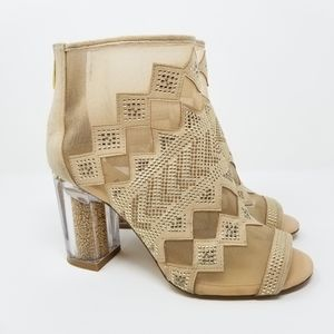 Katy Perry The Nakano Lucite Heel Open Toe Booties